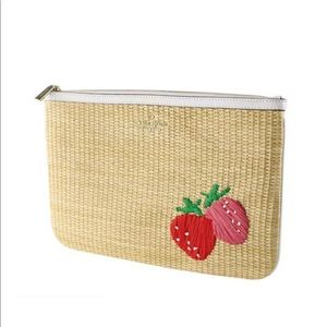 BNWT Kate Spade Strawberry Woven Clutch